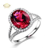 Wholesale Wholesale Tourmaline Ring - Wholesale Platinum plated fashion classical AAA Natural Oval Rose Red Tourmaline Engagement Wedding Rings for women