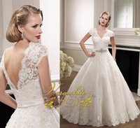 Wholesale Sequin Laciness - Beautiful A-Line Wedding Dresses 2016 Laciness V-Neck New Ivory Lace Cap Sleeves Appliques Sequins Open Back Custom Court Train Bridal Gowns