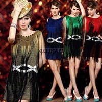 Wholesale Sequin Fringed Dress Costume - Cute Modern Classy Off the Shoulder Long Fringed Trim Gradient Sequin 1920S Flapper Cocktail Dress Costumes
