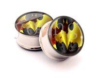 Wholesale Batman Tunnels - Stainless steel batman ear plugs tunnels ear gauges stretcher Piercing body jewelry free shipping SS-1030