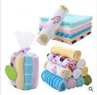 Wholesale Infant Washcloths - Newborn infant baby bibs feeding towel handkerchief 8pcs pack bath towels washcloth free shipping