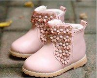 Wholesale Shoes Zipper Flower - 2014 new winter children boots Korean flower girls princess cotton boots side zipper round head shoes kids ankle boot 5pair lot GR132