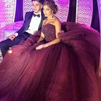 Wholesale sexy birthday dresses resale online - 2020 Bling Burgundy Quinceanera Ball Gown Dresses Sweetheart Crystal Beads Tulle Sleeveless Puffy Sweet Birthday Party Prom Evening Gowns
