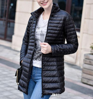 Wholesale Winter Jacket Women Hoody - Winter Down Jackets Women Brand Designer Long Coats Hoody with Fur Casual Slim ladies cold Parka Warm Fashion Outwear Top Coat