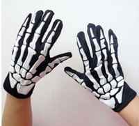 Wholesale Halloween costume gloves party accessories Costume Stretch Skull skeleton Gloves Halloween Costume Accessories Party supplies Dj15
