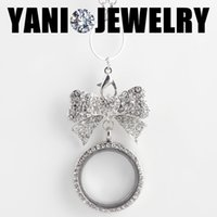 Wholesale Crystal Pendant Brooch - Bowknot Brooch Statement Necklaes with 30mm Round Memory Floating Locket Long Necklaces for Women Wedding with Free Chain