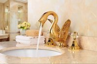 Wholesale Glass Lavatory Faucet - Gold clour bathroom basin sink swan faucet widespread LAVaTORY mixer TAP WITH CRYSTAL GLASS HANDLES