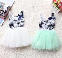 Wholesale Striped Purple Girl Dress - Wholesale 2015 Summer New Stripe girls dress Lace Collar Gauze Girl Princess Dress 2-5T 1506