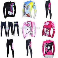 Wholesale Bib Tops Red - 2014 women cycling Jersey sets with hello kitty & Tom Jerry & Mickey, in autumn fall with long sleeve bike top & (bib) pants