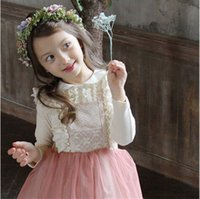Wholesale Korean Baby Summer Fashion - girls lace bows suspender dresses new brand kids clothing cute korean baby fashion lace tulle princess kids party dress A7171