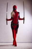 Wholesale deadpool costume women for sale - Lady Deadpool Costume Red full body spandex girl women female Heros Deadpool Zentai Suit