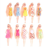 Wholesale Handmade Clothes For Girls - Free shipping Random 10 PCS Mixed Sorts Barbie Doll Fashion Clothes Beautiful Handmade Doll Party Dress For Barbie Dolls Girl Gift Kid's Toy