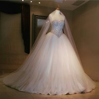 Wholesale bubble beads - Middle East 2015 Wedding Dresses Ball Gown Luxury Embroidery Beaded Tulle Bubbled Court Train Bridal Gowns