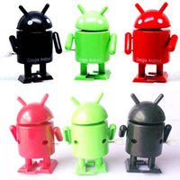 Wholesale Google Android Robot Toy - Hot Wind up Google Android Robot Green Black Yellow and Red figures Toys For Baby Kid Children Factory price Free shipping