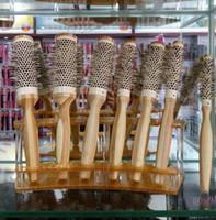 farklı boylar saç toptan satış-Bambu Saç Fırçası Tarak Seti Sıcak Satış Kuaför Araçları Isıtmalı Yuvarlak Naylon Fırça Bej Renk 7 Farklı Boyutları 120 ADET başına Lot DHL Ücretsiz Gönderi