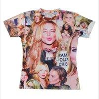 Wholesale Shirt Kiss - Free sipping 2015 hip hop clothing high quality Fashion star Print T shirt Men Women Lindsay Lohan kiss Print 3D t shirt FG1510