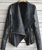 Wholesale Big Crystal Rock - Womens coat ladies clothing PU Leather Zipper Rivets lapel Short Casual punk rock Asymmetrical Jacket Outerwear big size S-XXL Coats 8608