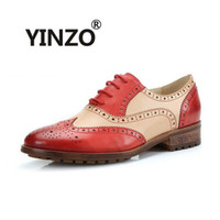 Wholesale women oxford shoes fashion brand - Wholesale- YINZO Brand Women Shoes New Fashion Round Toe Carved Brogue Oxford Shoes For Women Vintage lacing Ladies Casual Flats Size 35-41