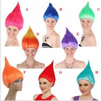 Wholesale halloween wigs costumes - Trolls Wig Cosplay Wig Halloween Wigs Colorful Troll Costume Hair Unisex Halloween Cosplay Decorations for Children and Adults OTH679