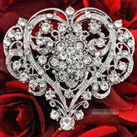 Wholesale Sell Wedding Bouquets - Vintage Fashion Rhodium Plated Stunning Clear Crystals Big Heart Flower Brooch Women Wedding Bridal Bouquet Pins Hot Selling Top Quality