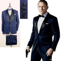 Wholesale tie for dark blue suit - Custom 2016 Dark Blue Mens Suits One Button Shawl Lapel Wedding Suits for Groom   Groomsmen Prom Casual Tuxedo (Jacket+Pants+Vest+Bow Tie)