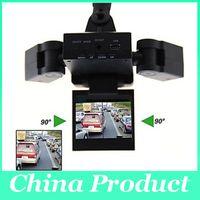 Wholesale Korean Lenses Wholesale - New Dual Two Lens Car DVR Cam Recorder Night Vision Vehicle Camera Video H303 dvr video recorder 010224