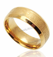 Wholesale gold etching resale online - Stainless Steel Etched Spanish Lord s Prayer Cross Wedding Gold Band Ring Size New