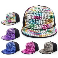 Wholesale Snapback Hats Sticker - Wholesale-Colored sequins quality Rhinestone stickers baseball hat hip-hop caps hats for women snapback bone swag gorras chapeu mz-051