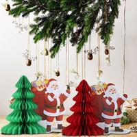 Wholesale Vintage Honeycomb - Wholesale- 1 Piece Big Vintage Super Sweet Christmas Santa Claus Honeycomb Centerpiece Santa Honeycomb Tree Christmas Table Decoration
