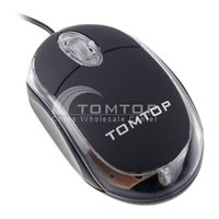 Wholesale Tomtop Mini Usb Mouse - Wholesale-Black Mini USB Optical 3D Mouse Scroll Wheel LED Light Mouse with TOMTOP Logo for PC Laptop Computer