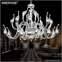 Wholesale Large Iron Pendant Light - Modern Large Swan Chandelier Light Fixture 24 lights Black Silver color swan suspension light for Pendant Style