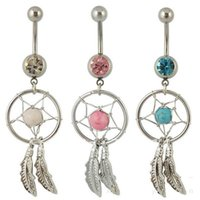 Wholesale Ring Dream Catcher - Wholesale - Dream Catcher Jewelry Dangling Belly Button Rings Navel Ring Body Piercing Jewelry 5 Colors for choices