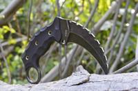 melhor faca fixa edc venda por atacado-Promoção Karambit fixa faca garra AUS-8 lâmina G10 hnadle EDC engrenagem faca de sobrevivência faca popular melhor presente de natal 596L