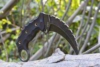 meilleur edc couteau fixe achat en gros de-Promotion Karambit fixe couteau à griffes AUS-8 lame G10 hnadle EDC gear couteau de survie populaire couteau meilleur cadeau de Noël 596L