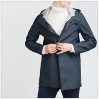 Wholesale Studs Jacket Men - Fall-2015 Autumn Winter Fashion Genuine NEW Mans Navy Blue Waterproof HOODED RAINCOAT Jacket With Press stud button Side Pockets