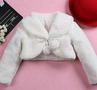 Wholesale White Faux Fur Jackets Kids - Hot Sale Fur Coat Children Girls Long Sleeve White Thicken Shawl Jacket Chuzzle Winter Child Kids Lapel Party Outwears High Quality L1026