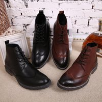 Wholesale Mens Winter Boots Free Shipping - High Quality Men Boots 2016 Winter Boots Zip Ankle Casual Brand Winter Shoes Fashion Mens Boots Leather Plush Y009 Free Shipping