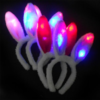 Wholesale wings for dancing resale online - South Korea led rabbit ears headband head band concert dance flash card manufacturers headwear for children