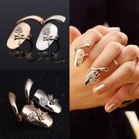 Wholesale dragonfly nail designs - New Arrive 12pcs lot Exquisite Cute Retro Queen Dragonfly Design Rhinestone Plum Snake Gold Silver Ring Finger Nail Rings
