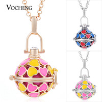 Wholesale Mexican Paint - VOCHENG Mexican Chime 3 Colors Plated Angel Ball Necklace Heart Hand Painted Pendant Jewelry with Stainless Steel Chain VA-210