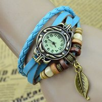 10PCS Retro Quartz Weave Wrap Around Bracelet Bracelet Bracelet Womens Tree Leaf Femmes Girls LADIES Wrist Watch GRATUITEMENT