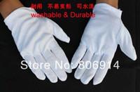 Wholesale White Cotton Work Gloves Wholesale - Wholesale-Free Shipping 10pairs lot unisize durable 100% cotton white thickened ceremony gloves working gloves