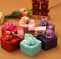 Wholesale Red Wedding Tags - 30Pcs Lot Customized Wedding Candy Boxes Purple Flowers With Tags Square Favor Holders Gift Box 2015 Autumn Style Hot Sale