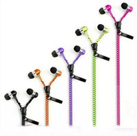 Wholesale Earphone Headset Talking Control - Best Quality Metal Zipper Headphone In Ear 3.5mm round head In-Ear Zip Earphone Control Talk Metal Earphones for cell phone iphone Sansung