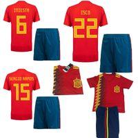 Wholesale spain soccer jersey kids - 2018 world cup Spain soccer Jersey Kids Kit 2018 2019 Spain home red Soccer Jerseys #7 MORATA #22 ISCO Child Soccer Shirts jersey+shorts