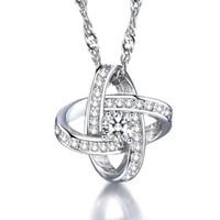 kolye için swarovski kristal kolye toptan satış-925 ayar gümüş öğeleri bildirimi kolye İsviçre kristal kolye swarovski elemanları cropss knot charms etnik bağbozumu