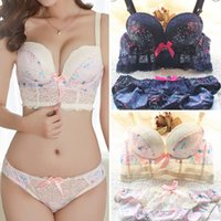 Wholesale Push Trimmer - 2015 New Arrival Princess Style Sweet Printed Lace Trimming Push Up Sexy Wire Free Women Bra Set Adjustable Underwear Suits