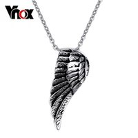 Wholesale Single Rhinestone Necklace - Fashion Stainless Steel Single Wing Pendant Necklace for Men Party Pendants Men Necklaces&Pendants Jewelry Christmas party gift