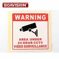 Wholesale Sign Boards - 20Pcs Size 80*80MM Decal Sticker Warning Board 24HR CCTV Camera Surveillance Security Camera Sticker Warning Decal Signs