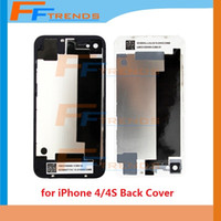Wholesale Cdma Glass Back - Back Glass Battery Housing Door Back Cover Replacement Part with Flash Diffuser for iPhone 4 4 CDMA 4S Black White 1pcs Free Ship
